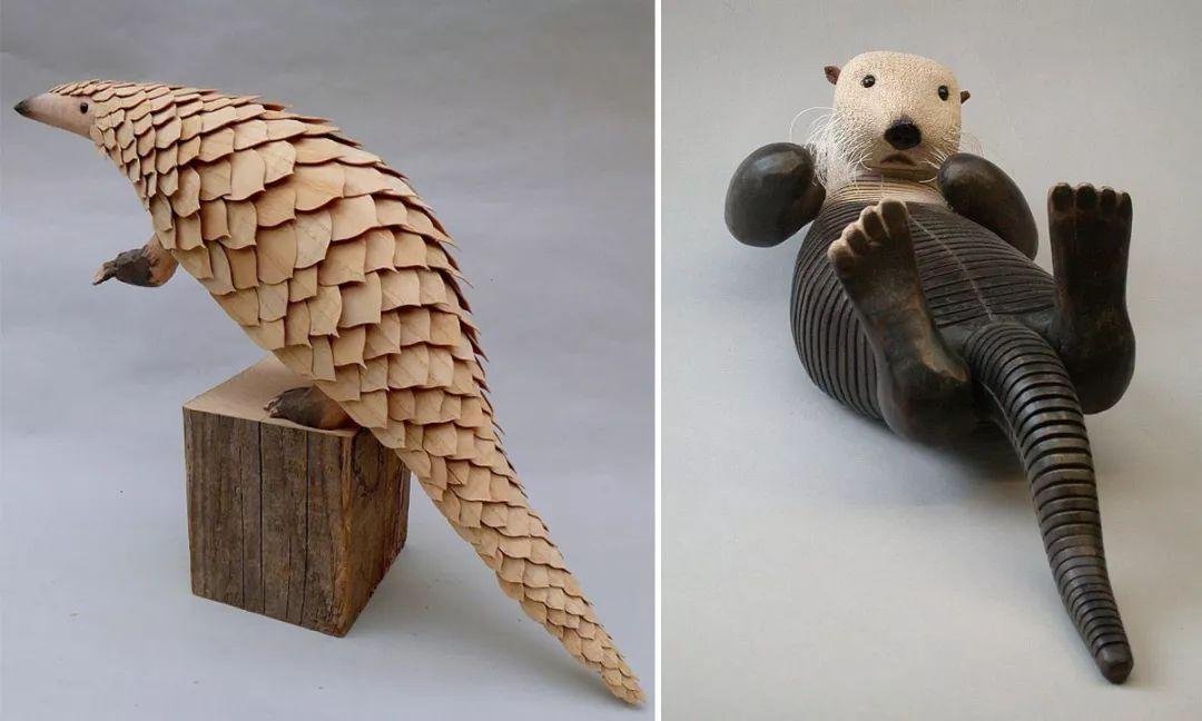 """这些野生动物木雕竟然可以""""动""""起来"""