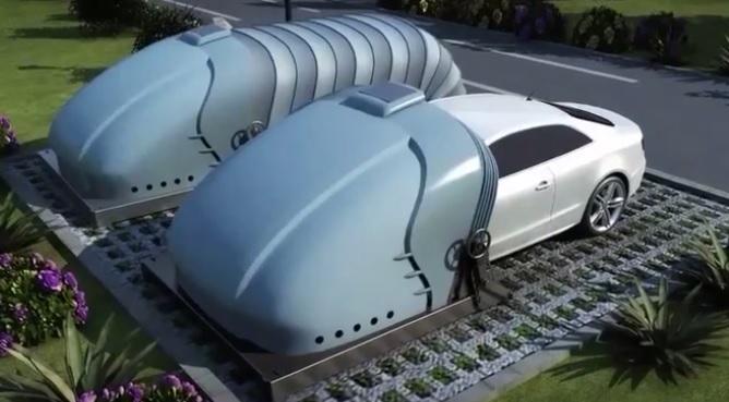 可移动的太阳能供电车库 直接将车套住